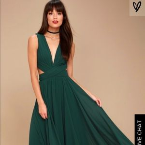 Forest/Emerald Green Formal Lulu's Cut Out Maxi
